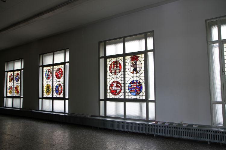 stained glass windows, designed by Silesian artist Kowalski in 1950, Berlin Biennale 2012