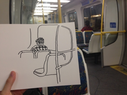 Kenny Pittock. Train drawing. Green tea in a thermos.