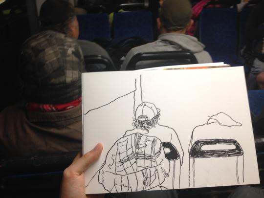 Kenny Pittock train drawing. Shaky bus.