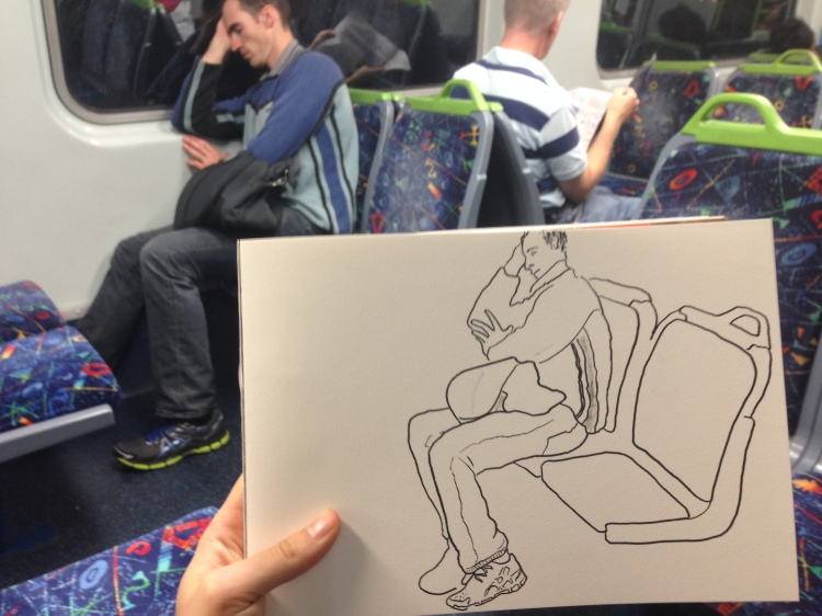 Kenny Pittock. Train drawing. Athletic guy fast asleep.