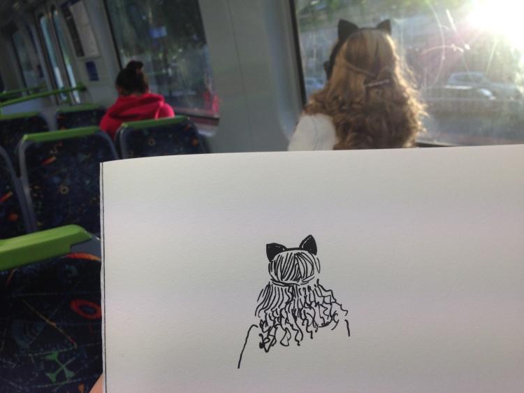 Kenny Pittock. Train drawing. Cat.