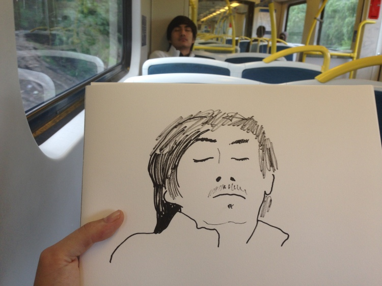 Kenny Pittock. Train drawing. Coming in to Williamstown.