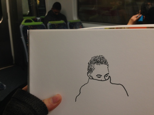Kenny Pittock. Train drawing. Turtle neck