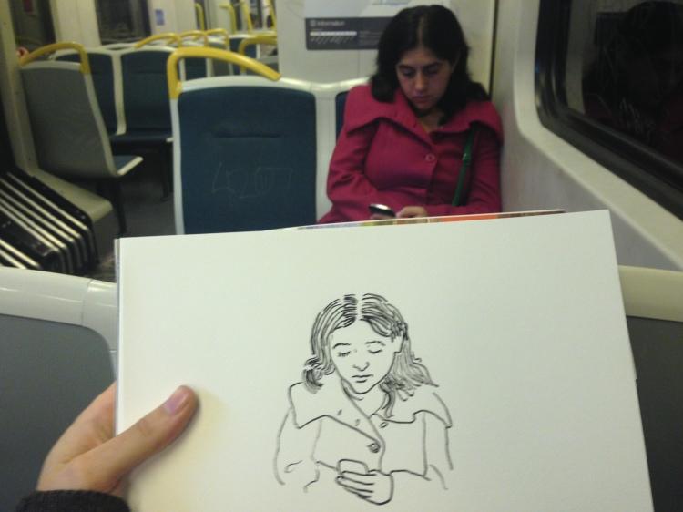 Kenny Pittock. Train drawing. pink jacket.