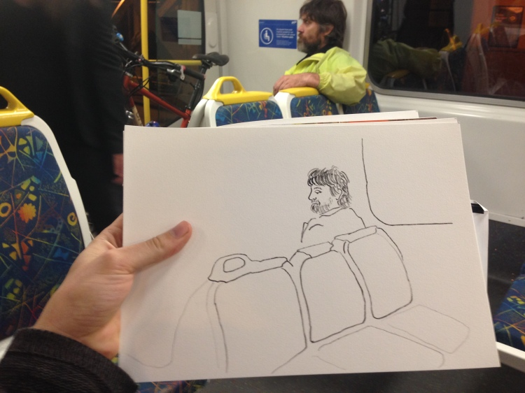 Kenny Pittock. Train drawing. Man with bike.