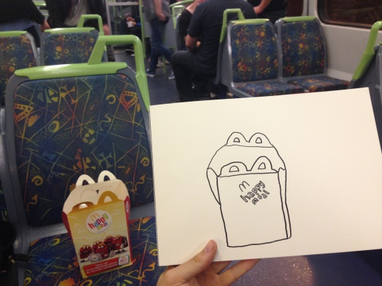 Kenny Pittock. Train drawing. old happy meal with old unhappy guys.