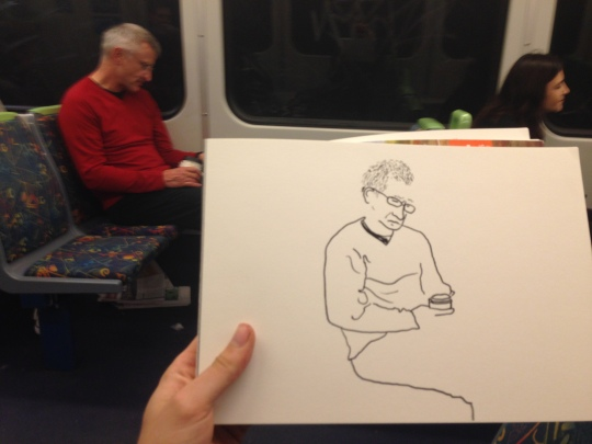 Kenny Pittock. Train drawing. Man with coffee cup