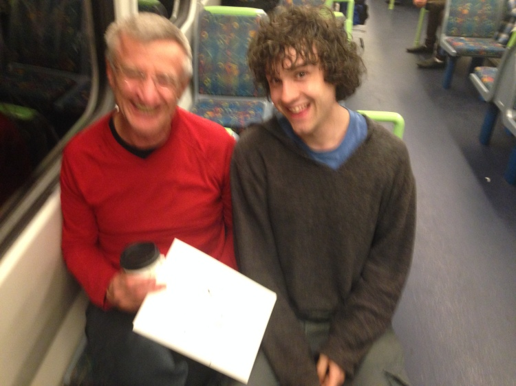 Kenny Pittock. Train drawing. Laughing with Bill.