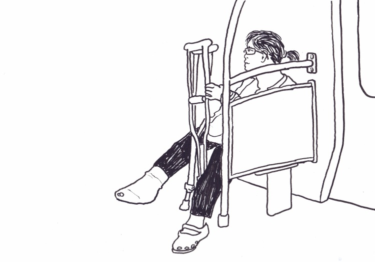 Woman with a bandage on one foot and croc on the other. Kenny Pittock. Train Drawing